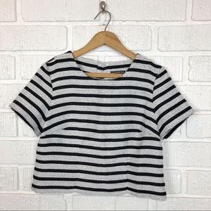 EXPRESS Black & White boxy crop top Tweed  Small